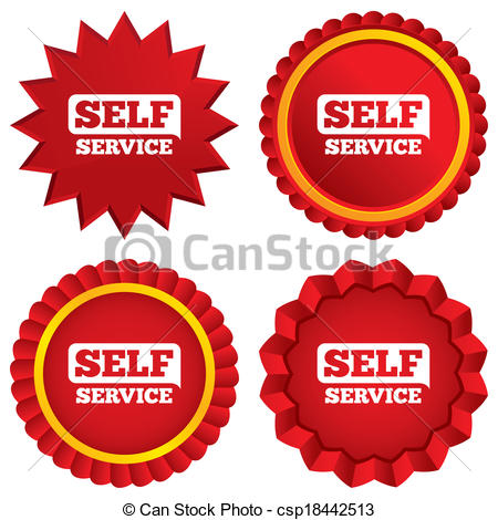 Self Service Sign Icon  Maintenance Button  Red Stars Stickers