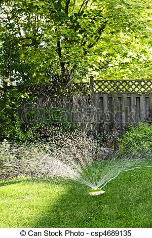 Stock Photo   Lawn Sprinkler Watering Grass   Stock Image Images