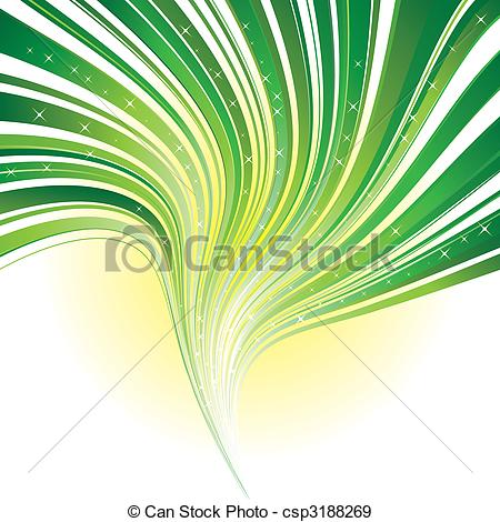 Vector   Abstract Green Stripe Swirl Background With Stars   Stock