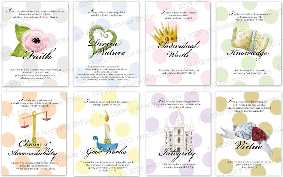 Young Women Theme Colors Yw Theme And Value Cards
