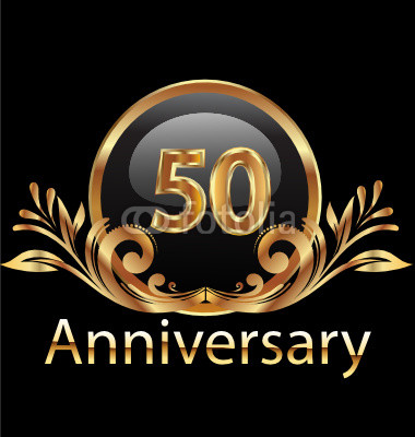 50 Years Anniversary Birthday In Gold By Glopphy Royalty Free Vectors