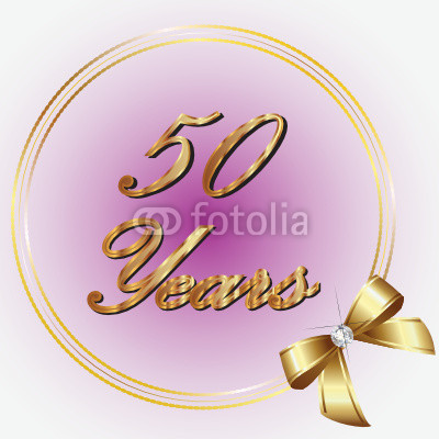 50 Years Gold With Ribbon From Glopphy Royalty Free Vector  39438425