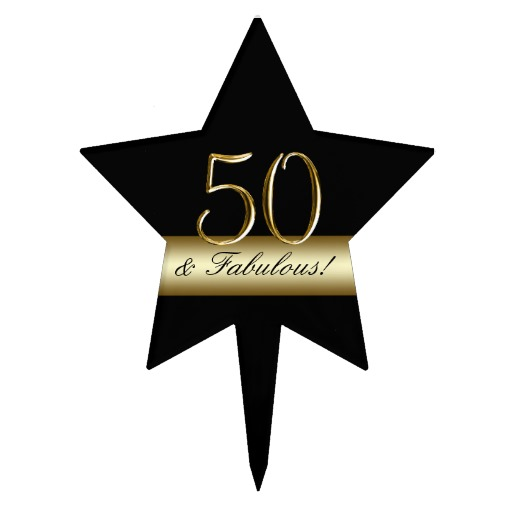 Black Metallic Gold 50th Birthday Cake Toppers   Zazzle