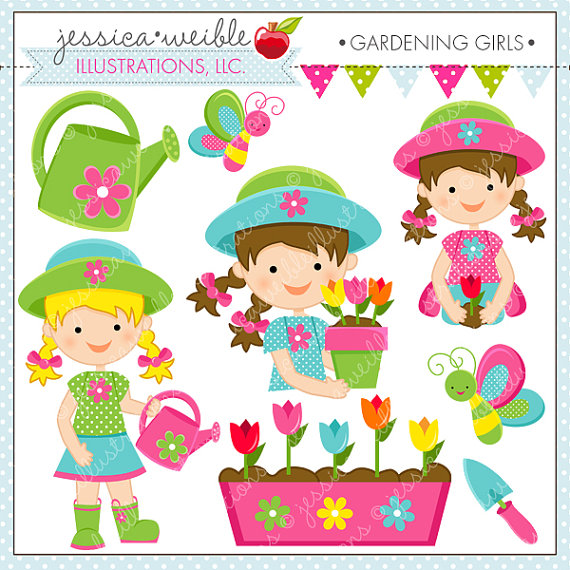 Clipart For Commercial Or Personal Use Spring Flower Girl Garden