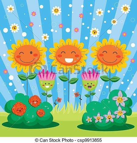 Clipart Vector Of Happy Spring Flower Garden   Cute Flower Garden Full