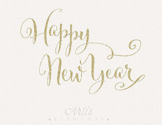 Happy New Year Glitter Script Silver Gold   Digital Overlay Clipart