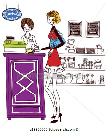 Illustration   Woman At Checkout Counter  Fotosearch   Search Clipart