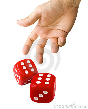 Male Hand Throwing Red Dice Showing Double Six Isolated On White