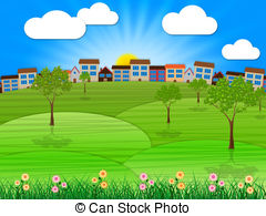 Outdoor Scene Clipart Landscape Summer Shows Outdoor