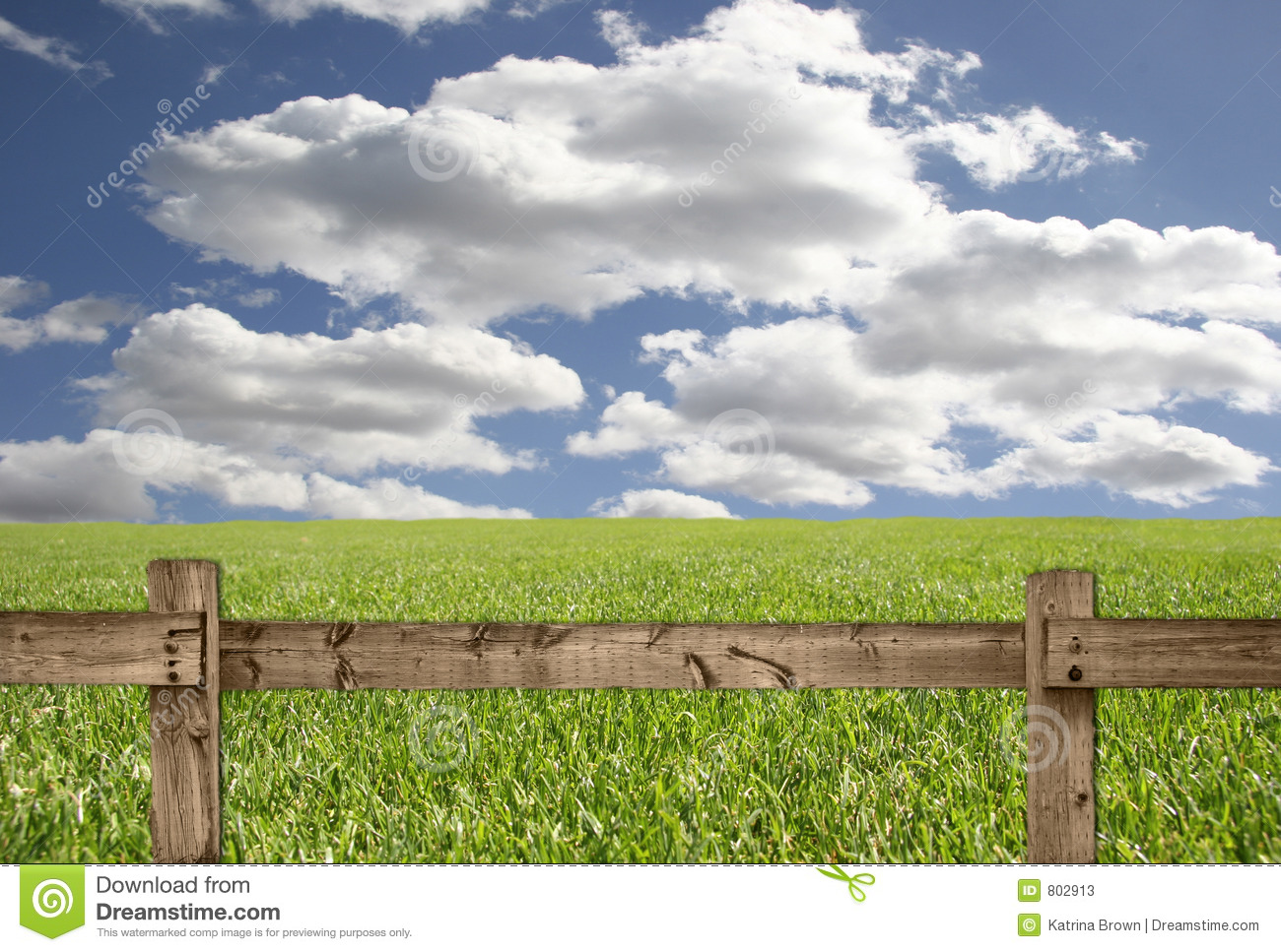 Outdoor Scene With Wood Fence Sky And Grass Stock Photos   Image