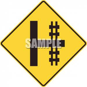 Railroad Crossing On Right Sign   Royalty Free Clipart Picture