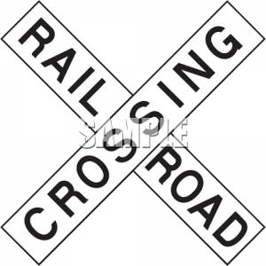 Railroad Crossing Sign   Royalty Free Clipart Picture