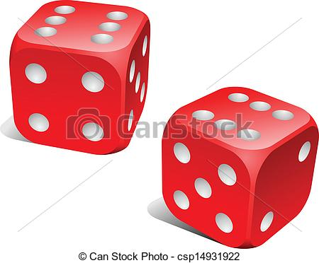 Vector   Red And White Dice With Double Six Roll    Stock Illustration