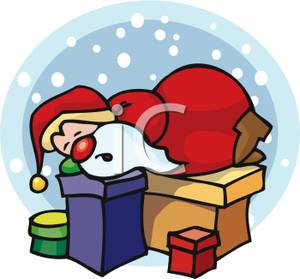 Cartoon Of Santa Napping On Gift Boxes   Royalty Free Clipart Picture