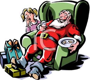 Cartoon Of Santa Sleeping On The Job Holding Cookies And Milk Using A