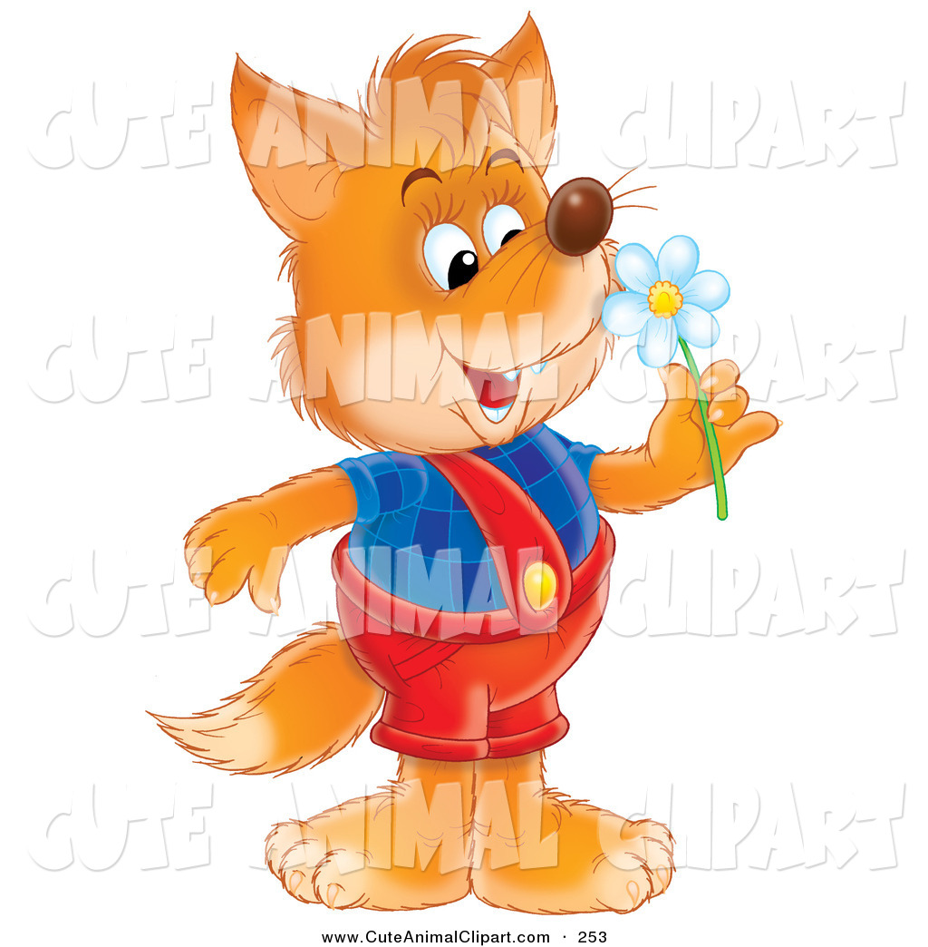 Clip Art Of A Cute Orange Fox Dressed In Overalls Smelling A Spring