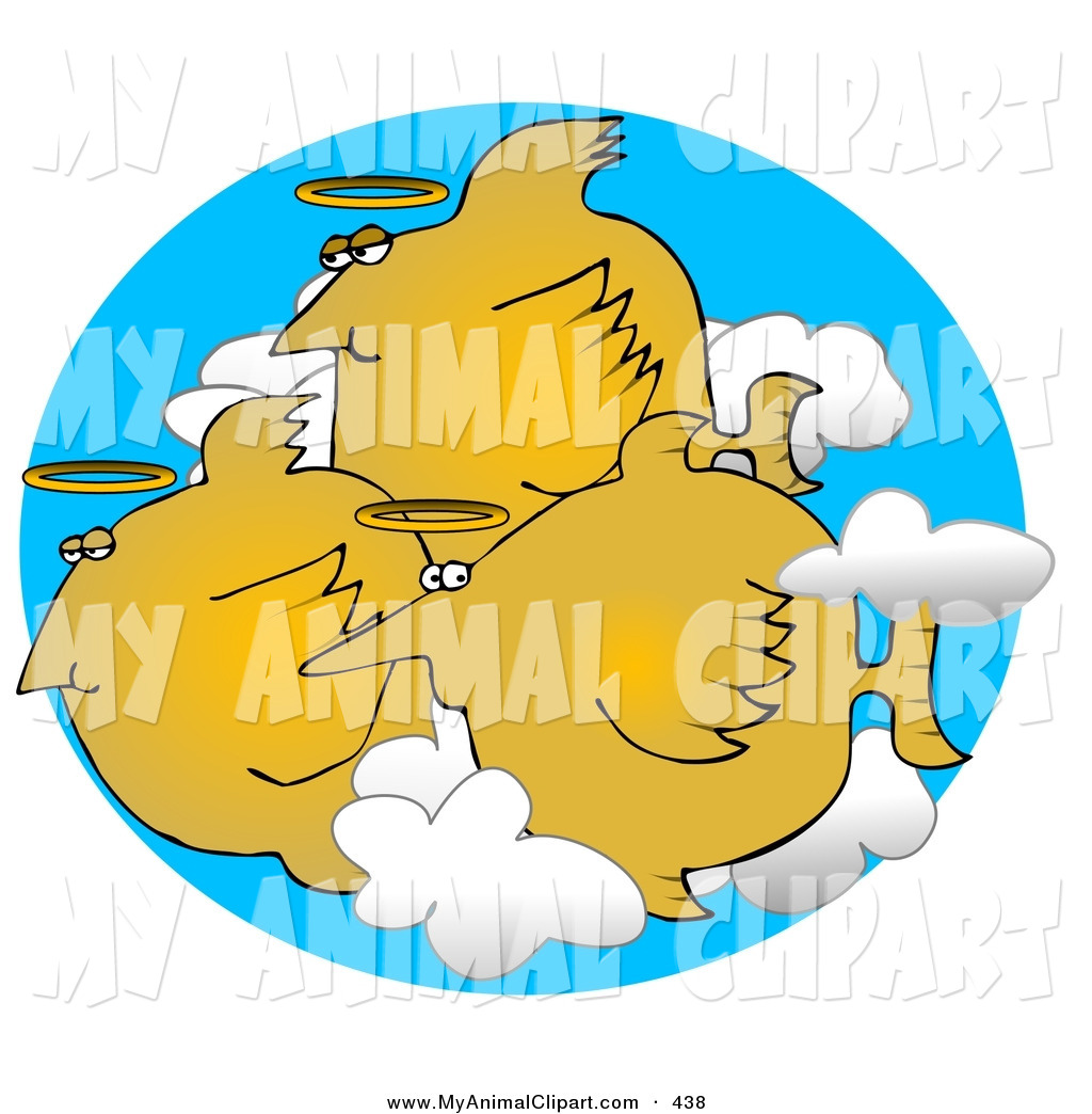 Clip Art Of A Group Of Three Orange Angel Fish With Halos Swimming In