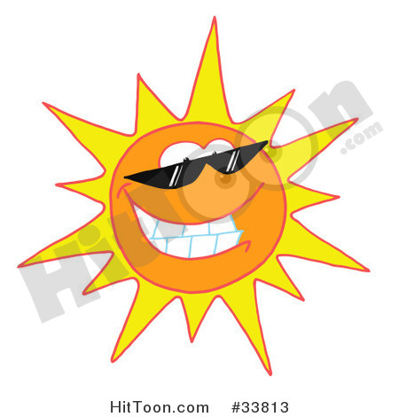 Clipart Illustration Of A Cool And Bright Sun Character Wearing Shades