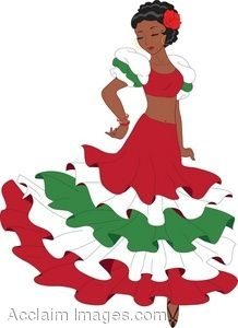Clipart Illustration Of A Latino Woman Dancing A Pasa Doble Dance
