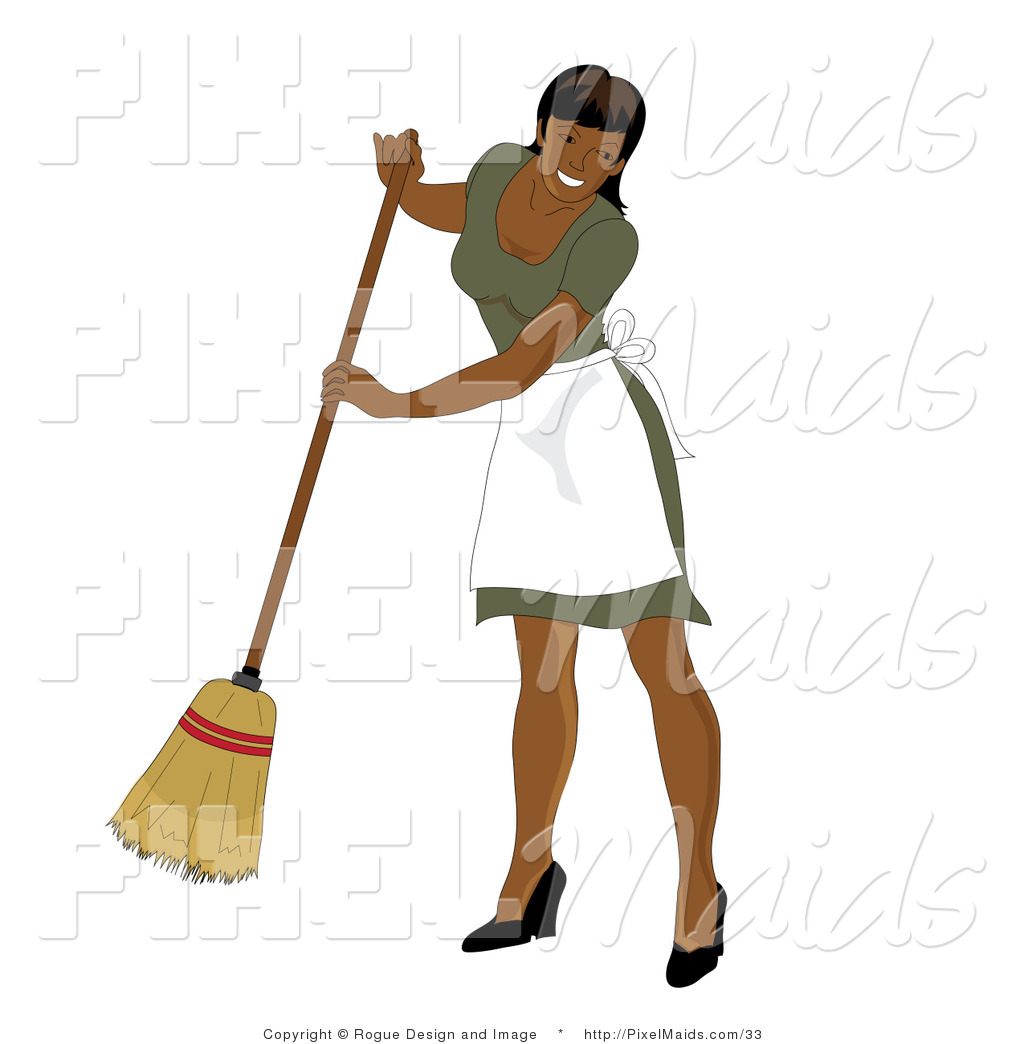 Clipart Of A Hispanic Maid Sweeping By Pams Clipart 33 Jpg