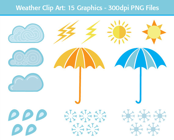 Clouds Rain Snowflakes Lightning Sun Umbrella 15 Weather Clipart