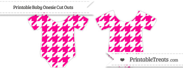 Free Magenta Houndstooth Pattern Small Baby Onesie Cut Outs To Print