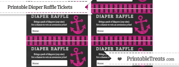 Free Magenta Striped Chalk Style Nautical Diaper Raffle Tickets