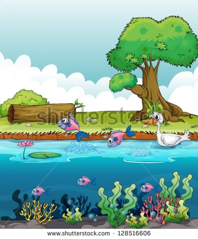 Illustration Of Sea Creatures With A Duck   Stock Vector