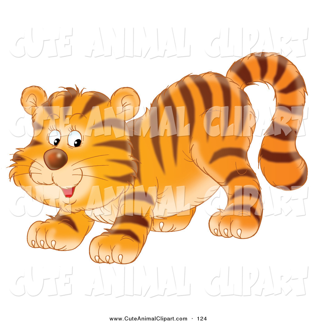 Larger Preview  Clip Art Of A Playful Orange Tiger Cub Crouching Down