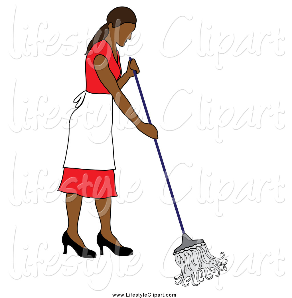 Lifestyle Clipart Of A Cleaning Hispanic Lady In A Red Dress Mopping