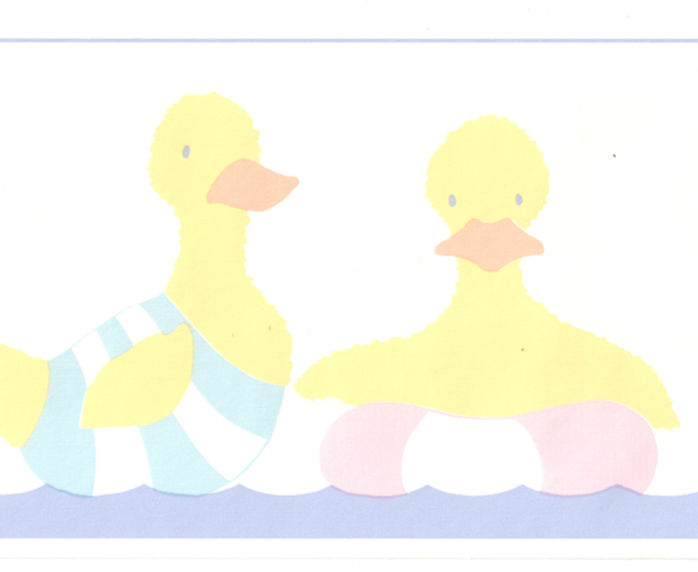 Pastel Color Blue Pink Boy Girl Ducks Baby Nursery Wall Paper Border