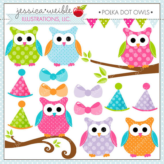 Polka Dot Owls Cute Digital Clipart For Commercial Or Personal Use