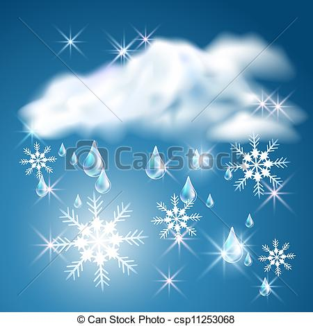 Rain And Snow In The Blue Sky With Clouds Csp11253068   Search Clipart