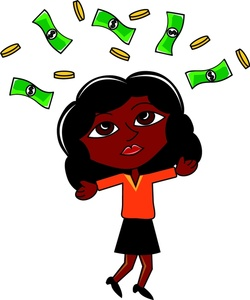 Rich Woman Clipart Image  Hispanic Lady Who Hit The Jackpot Throwing