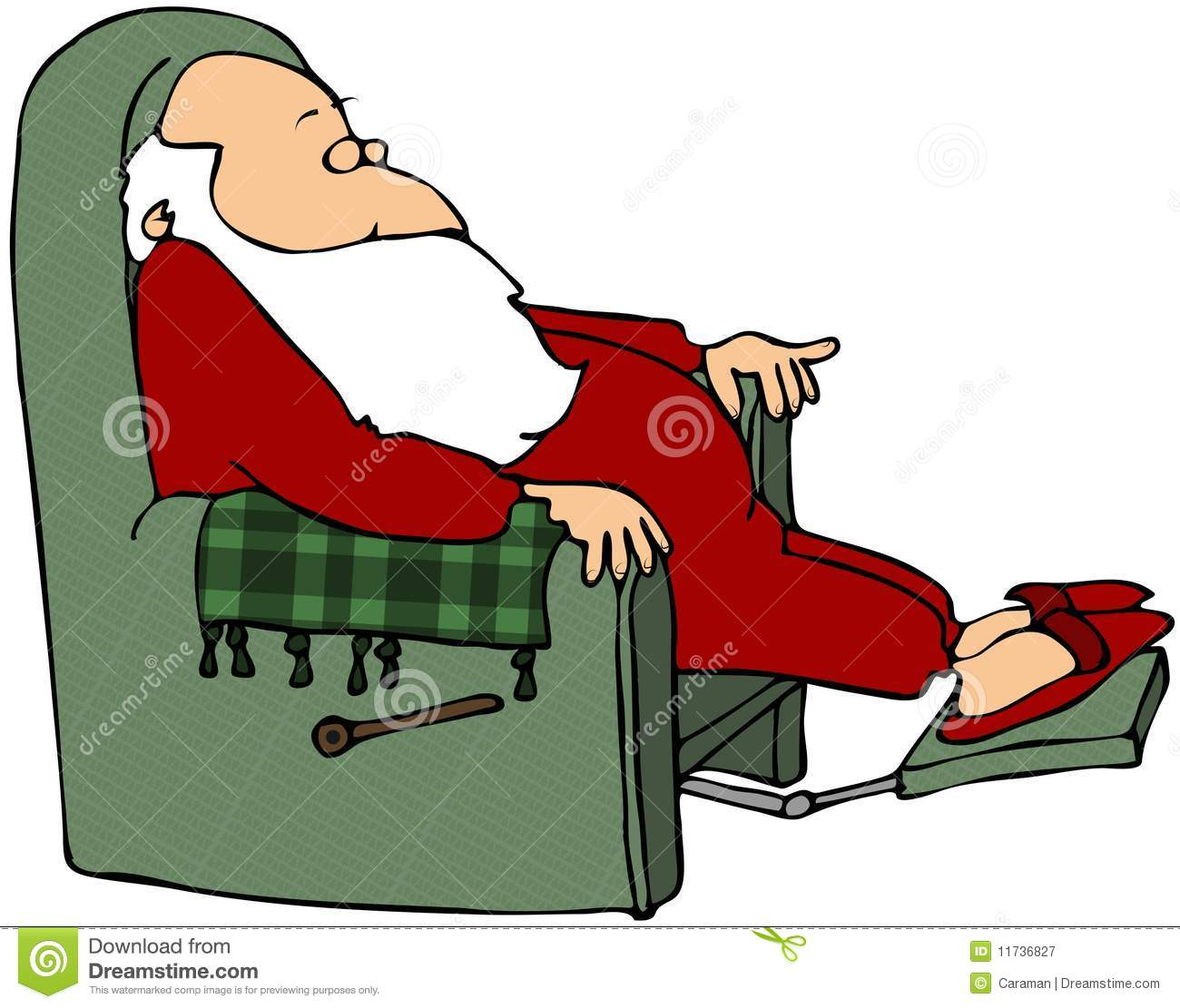 Santa Sleeping In A Chair Royalty Free Stock Photography   Image