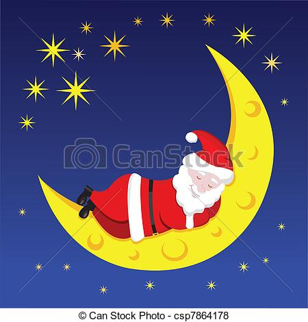 Santa Sleeping On The Moon Over The Night Sky Csp7864178   Search Clip