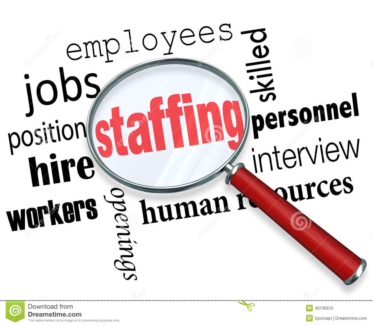 Staffing Magnifying Glass Words Human Resources Hiring Employees Stock