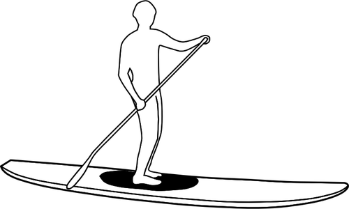 Stand Up Paddleboard Silhouette Silhouette Vector Image   Public
