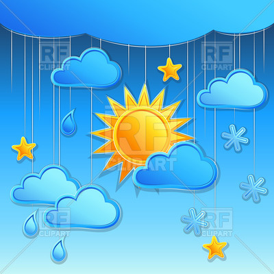 Star Cloud Rain And Snow Download Royalty Free Vector Clipart  Eps