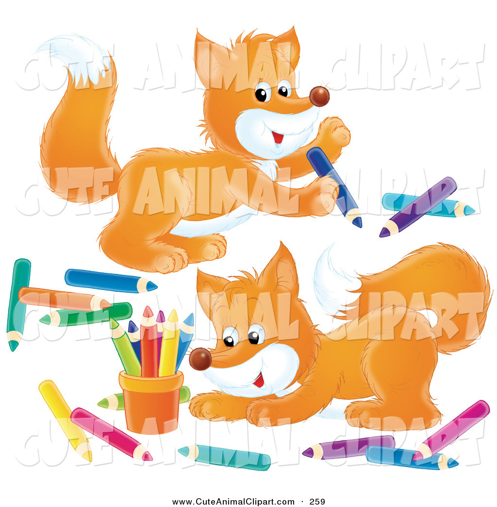 Vector Clip Art Of Two Adorable Orange Foxes Playing With Colored