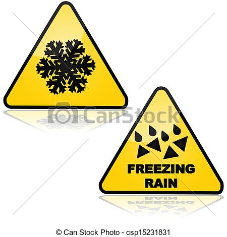 Vectors Of Snow And Freezing Rain   Traffic Signs Showing Warnings For