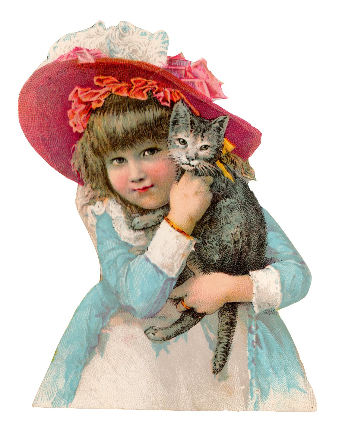 Vintage Clip Art  Girl With Cat