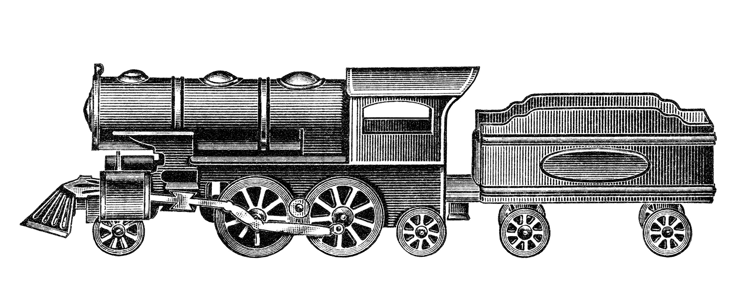 Train Engine Black And White Clipart