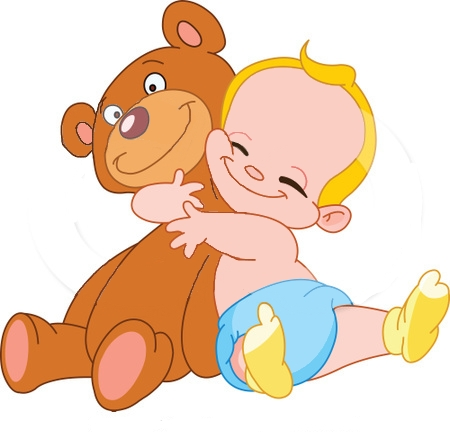 211438 Blond Baby Boy Hugging A Big Teddy Bear Poster Art Print