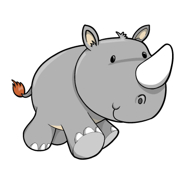 Cartoon Baby Rhino Cute Cartoon Charging Rhino Rhino Running Drawings
