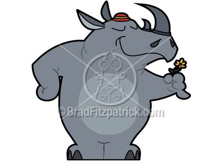 Cartoon Rhino Clipart Character   Royalty Free Rhino Picture Licensing