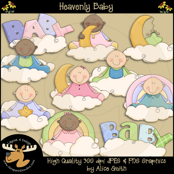 Heavenly Baby Clipart Download     1 00   Dollar Doodles