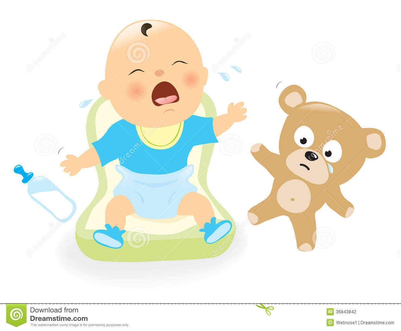 Illustration Of A Baby Crying And Sad Teddy Bear