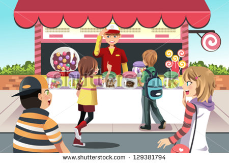 Illustration Of Kids Buying Candy At A Candy Shop   Stock Vector