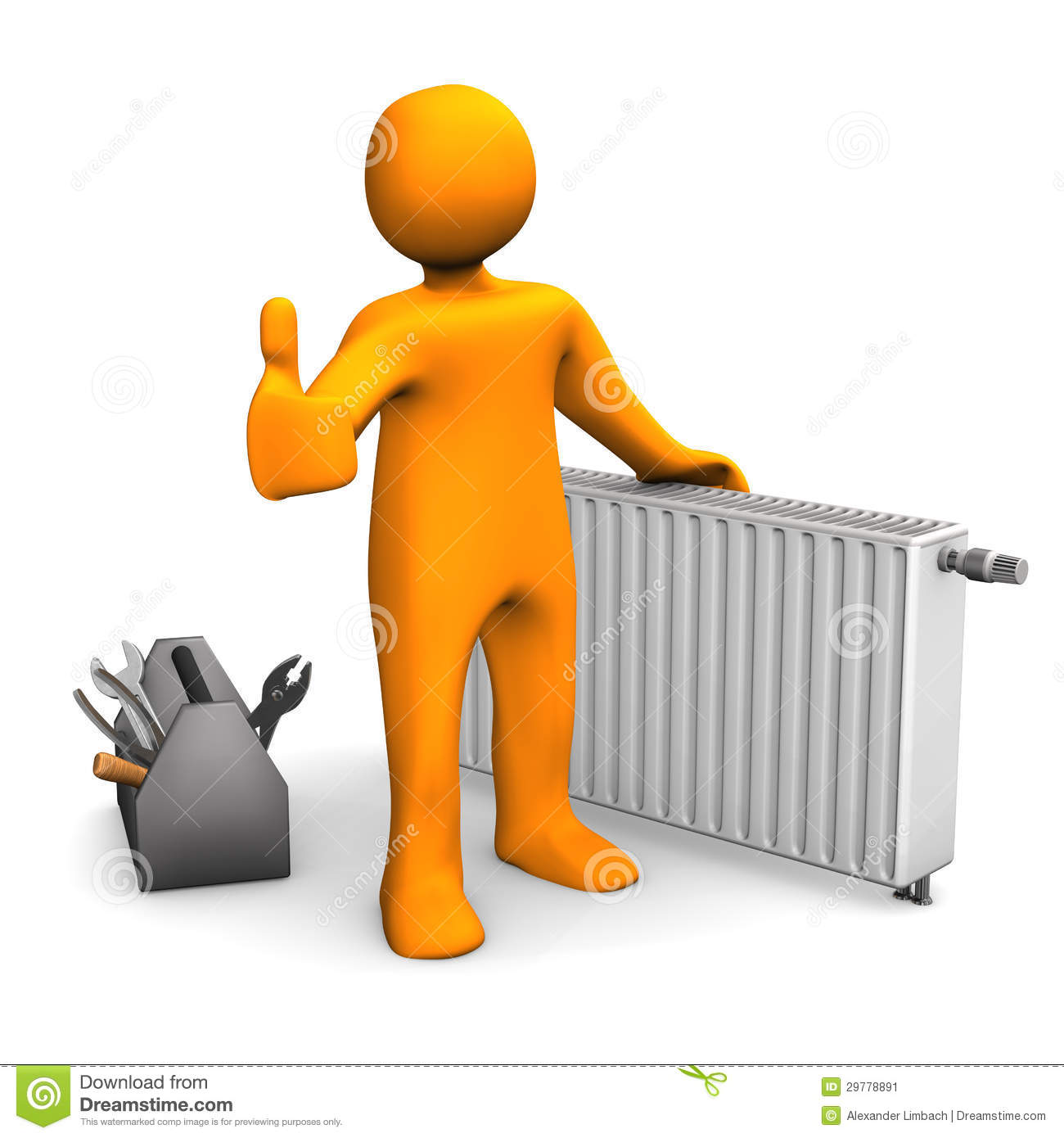 Orange Cartoon Character With Radiator And Ok Symbol